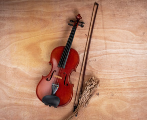 Fototapeta na wymiar The classic violin and bow put beside dried flower, wooden boar..