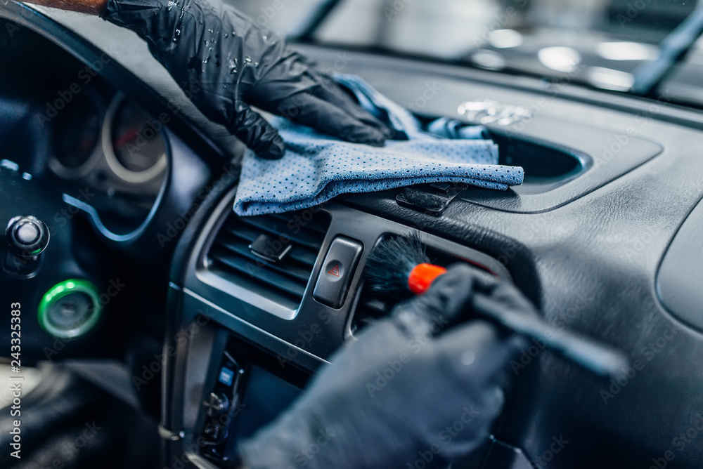 Obraz Auto detailing of car interior on carwash service fototapeta, plakat