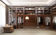 Luxury Dark Red Wood Modern Men Dressing Room