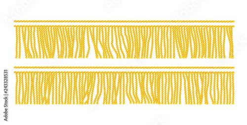 Fotografie, Obraz  Gold fringe. Seamless decorative element. Textile border.