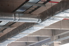 Typical Installation Of Ducting With Fiberglass Insulation Work Combine With Cable Tray And Fire Fighting Pipe