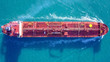 canvas print picture - Large crude oil tanker roaring across The Mediterranean sea - Aerial image.