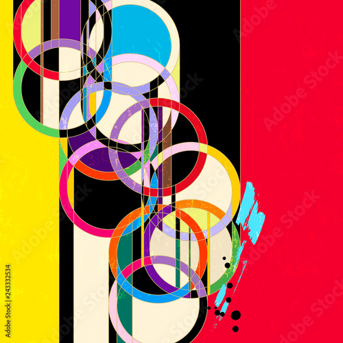 abstract circle background, retro/vintage art style, with paint strokes and splashes