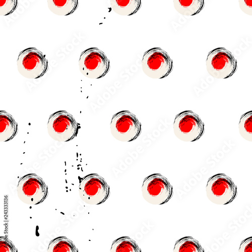 seamless background pattern, with circles/dots, strokes and splashes