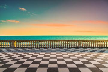 Mascagni Terrazza terrace at sunset. Livorno Tuscany Italy