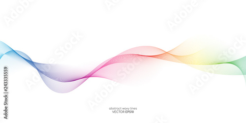 Abstract vector colorful wave line flowing isolated on white background for design elements in concept technology, music, science, A.I.
