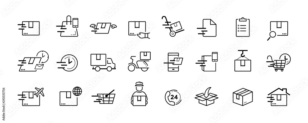 Fototapety, obrazy: Shipping and delivery service vector icon set