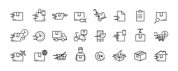 Shipping and delivery service vector icon set