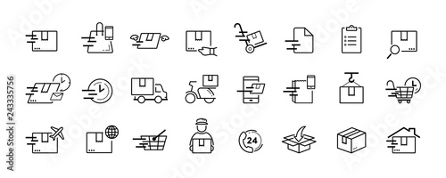 Photo Shipping and delivery service vector icon set