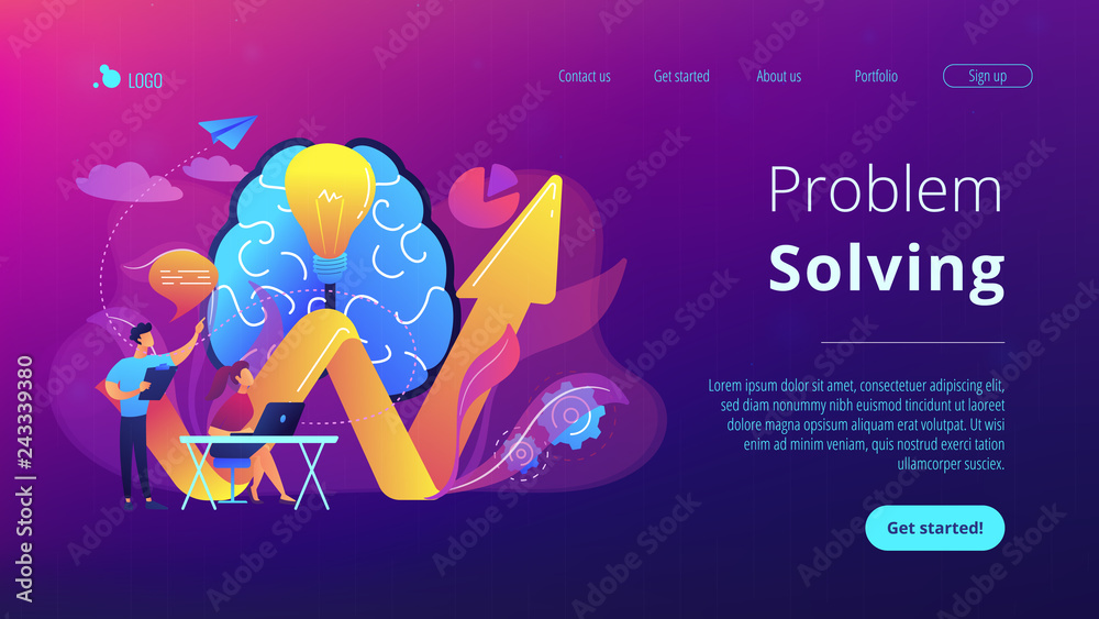 Fototapety, obrazy: Brain, lightbulb and business team solving problem. Innovative solution, problem-solving and crisis management concept on white background. Website vibrant violet landing web page template.