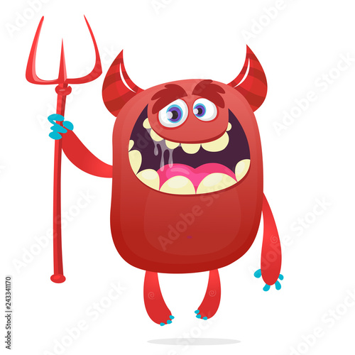 Photo Cute devil cartoon character holding trident or pitchfork
