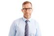 Confident middle aged businessman portrait standing against white background