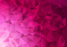 Banner With A Polygonal Pattern In Pink.