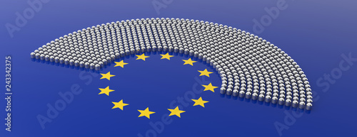 European Union parliament seats and yellow stars circle on blue background. 3d illustration