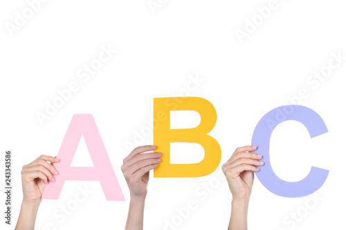 Fotografie, Obraz  Hands holding the word ABC on white background
