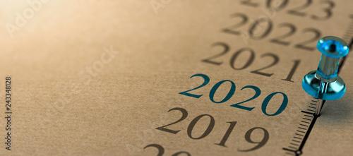 Obraz Year 2020, Two Thousand And Twenty Timeline - fototapety do salonu
