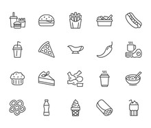 Fast Food Flat Line Icons Set. Burger, Combo Lunch, French Fries, Hot Dog, Sauce, Salad, Soup, Pizza Vector Illustrations. Thin Signs For Restaurant Menu. Pixel Perfect 64x64. Editable Strokes