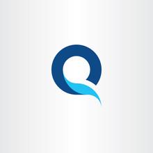 Q Logo Letter Blue Symbol Fresh Water Icon Logotype Vector
