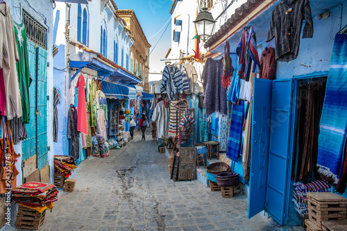 Poster Maroc Street views in Chefchaouen, Marocco