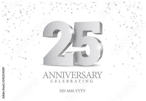 Fotografía  Anniversary 25. silver 3d numbers.
