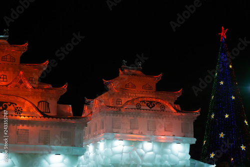 Photo  New Year's ice town at night