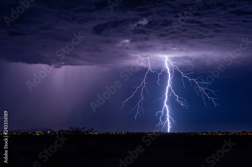 Canvas Print Lightning bolt storm