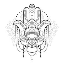 Hamsa Icon. Monochrome Vector ...