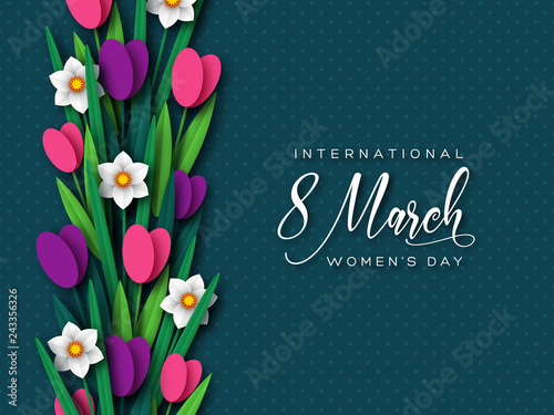 Obraz March 8 greeting card for International Womans Day. Paper cut tulips and narcissus on dark spotted background. Vector illustration. - fototapety do salonu