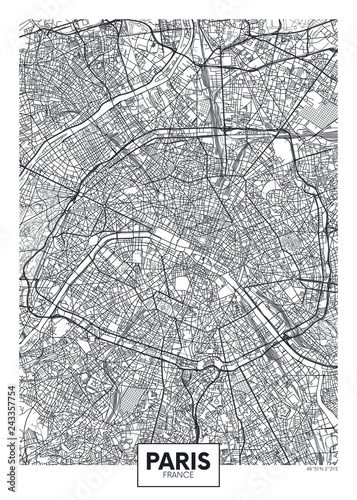 City map Paris, travel vector poster design Canvas