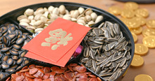 Snack Box For Chinese New Year With Red Packet Word Means Luck