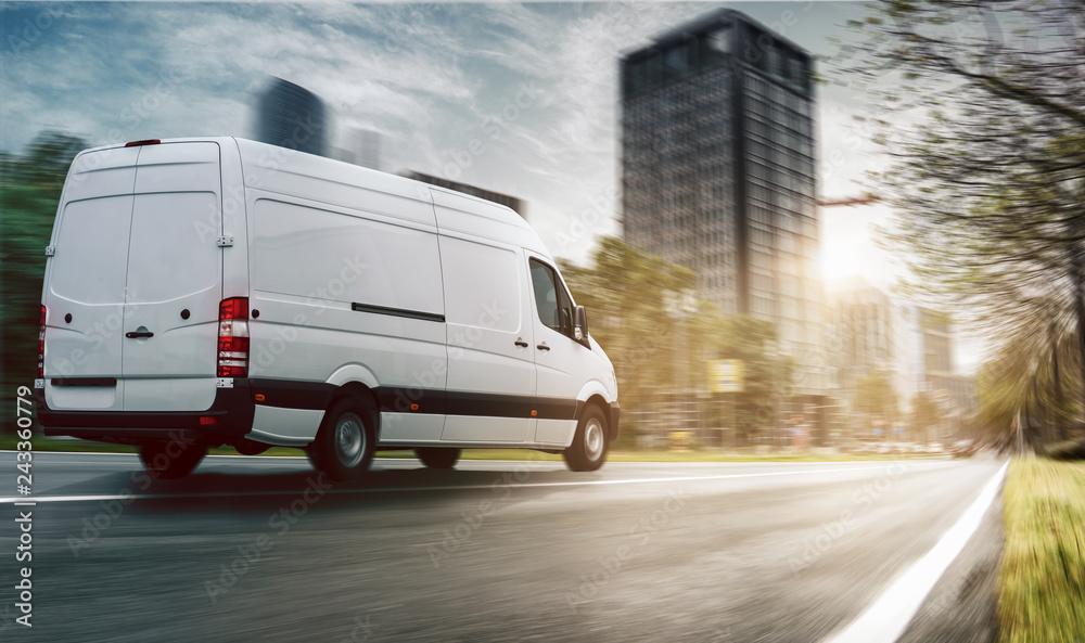 Fototapeta Lieferwagen in einer Stadt