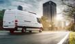 canvas print picture - Lieferwagen in einer Stadt