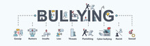 Bullying Banner Web Icon, Rumors, Discredit, Bullying, Insult, Racist, Threat, Harassment, Lies, Impersonate, Gossip And Violent. Minimal Vector Infographic.