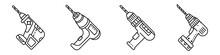Drilling Machine Icons Set. Ou...