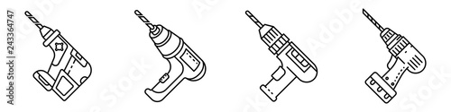 Drilling machine icons set. Outline set of drilling machine vector icons for web design isolated on white background