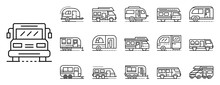 Motorhome Icons Set. Outline Set Of Motorhome Vector Icons For Web Design Isolated On White Background