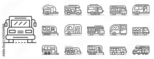Cuadros en Lienzo Motorhome icons set