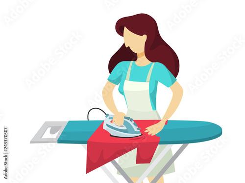 Valokuvatapetti Woman iron clothes on the ironing board