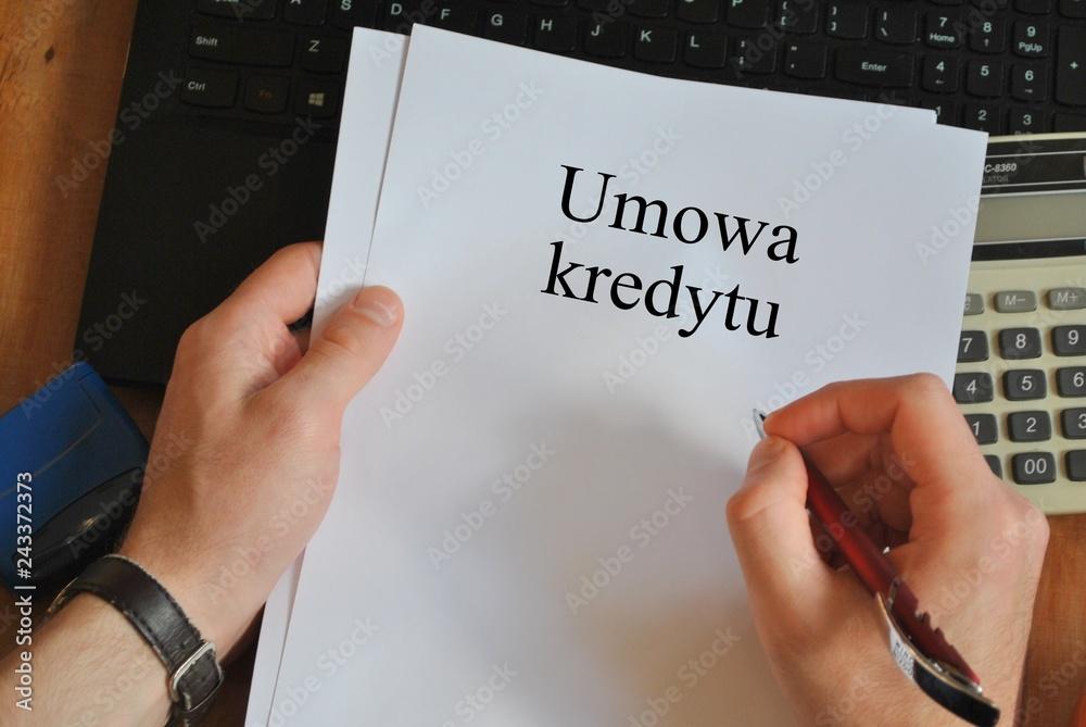 Fototapeta Umowa kredytowa