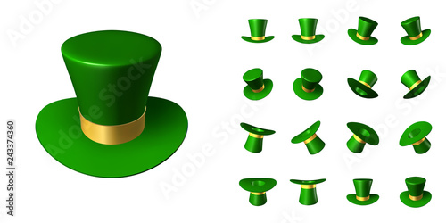Obraz Set of St. Patrick's green hat with a gold ribbon in various positions in space - fototapety do salonu