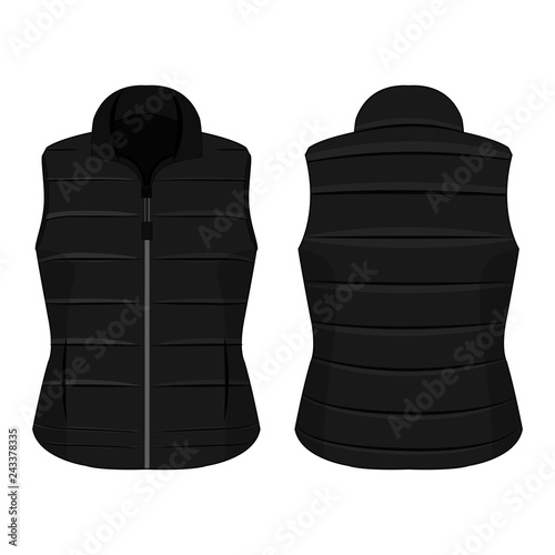 Cuadros en Lienzo Black winter zipped vest isolated vector on the white background