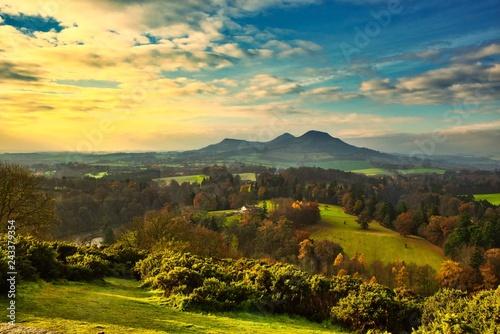 Fotobehang Zwavel geel Landscap and mountains