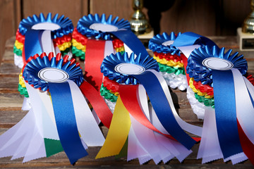 Group of horse riding equestrian sport trophys badges rosettes at equestrian event  at summertime