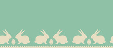 Easter Background. Seamless Border With Beige Easter Bunnies And Eggs On A Blue Background. Vector Illustration