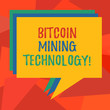 Word writing text Bitcoin Mining Technology. Business concept for trades processing in the digital currency system Stack of Speech Bubble Different Color Blank Colorful Piled Text Balloon