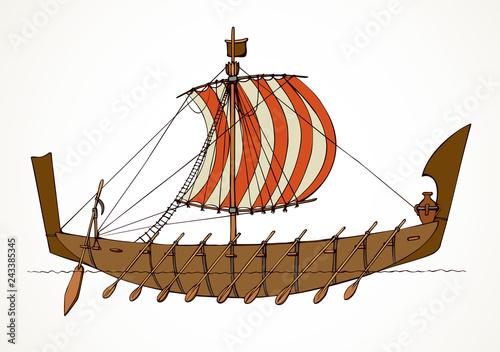 Fotografija Vector illustration. Ancient Phoenician ship