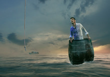 Castaway Man Sailing In Wooden Barrel Saved By Rope From Heaven