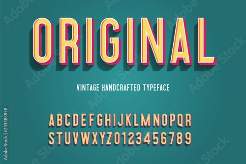 Fotografie, Obraz  original vintage handcrafted 3d alphabet. vector illustration