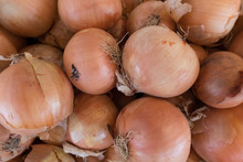 High Angle View Of Onions For Sale At Market