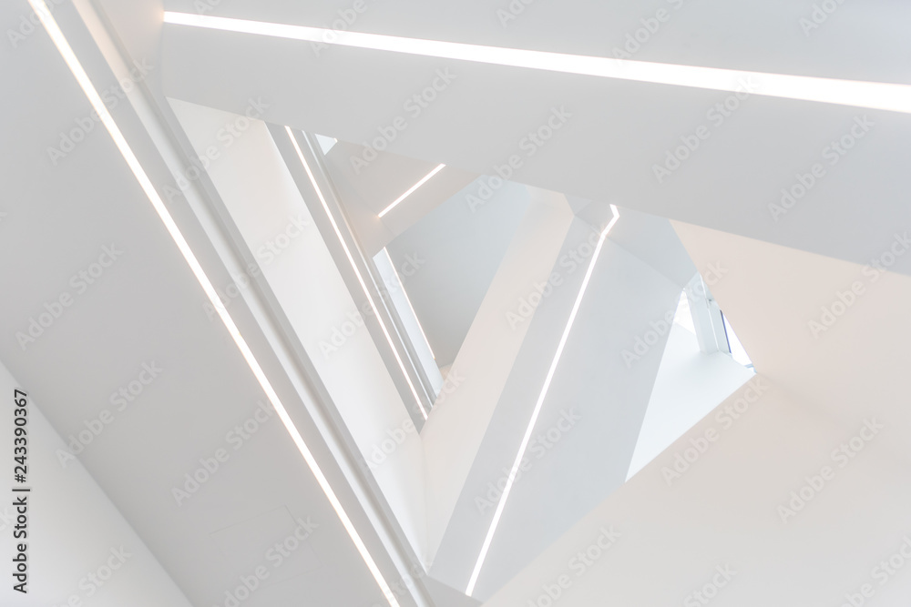 Fototapety, obrazy: scala bianca di design illuminata a led bianco